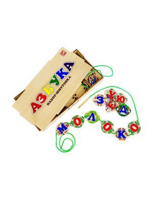 Азбука. Набор-шнуровка. 60 иллюстрированных элементов из дерева в деревянной коробке АНДАНТЕ. Цвет: синий, красный, светло-бежевый