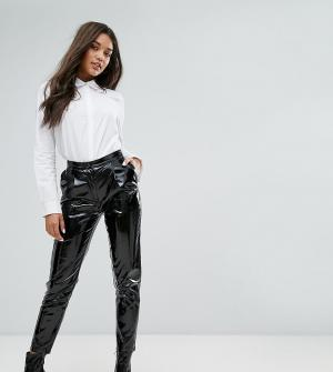 Missguided Виниловые брюки с завышенной талией. Цвет: черный