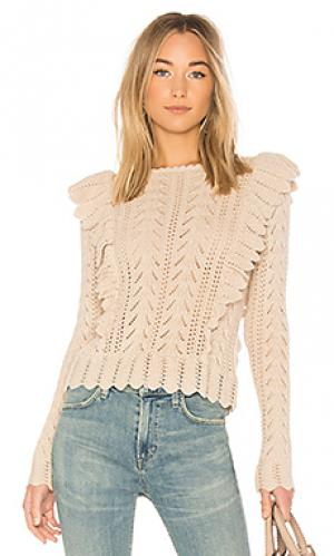 Пуловер ruffle LoveShackFancy. Цвет: беж