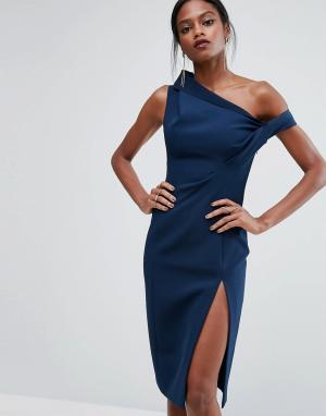 AQ Структурированное платье с открытыми плечами AQ/AQ. Цвет: синий