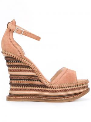 Embossed striped wedge sandals Alchimia Di Ballin. Цвет: телесный