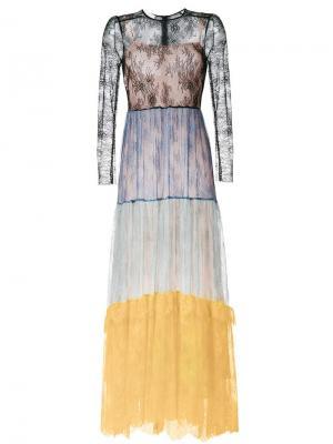 Длинное кружевное платье Philosophy Di Lorenzo Serafini. Цвет: многоцветный