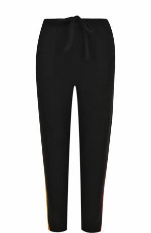 Кашемировые брюки с контрастными лампасами The Elder Statesman. Цвет: черный