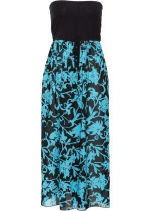 Пляжное платье (черный/бирюзовый) bonprix. Цвет: черный/бирюзовый