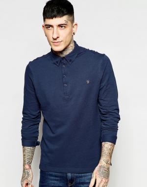 Farah Темно-синяя футболка-поло узкого кроя с длинными рукавами Merriw. Цвет: темно-синий