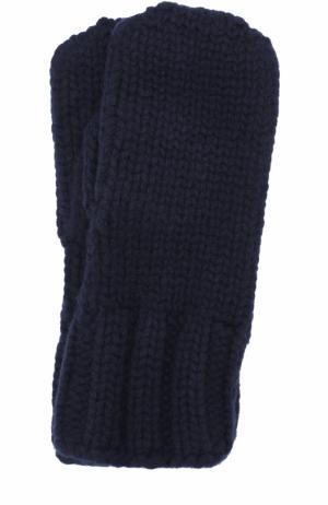Варежки фактурной вязки Tegin. Цвет: темно-синий