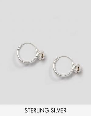 Kingsley Ryan Серебряные серьги-кольца с камнем. Цвет: серебряный