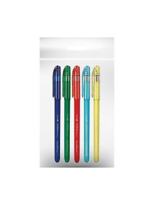 Набор из 5-и ручек с чернилами на масляной основе softwrite.rio 0.5 мм синяя Bruno Visconti. Цвет: прозрачный