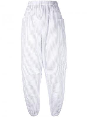 Полосатые брюки-шаровары Chalayan. Цвет: белый