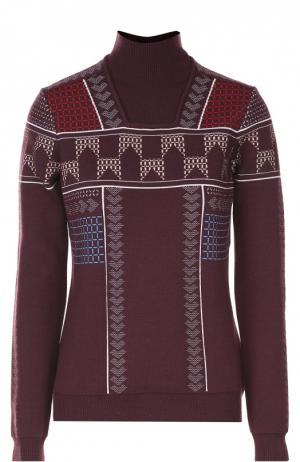 Шерстяной свитер с воротником-стойкой Peter Pilotto. Цвет: бордовый