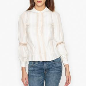Блузка кружевная со складками NEUVILLE SESSUN. Цвет: экрю