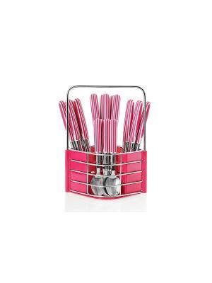 Набор столовых приборов на подставке Flore Plus,24 предмета розовый Elff Ceramics. Цвет: розовый
