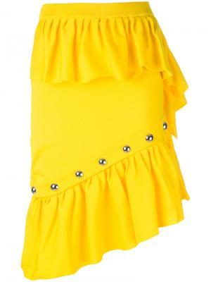Юбка с оборками и заклепками Marquesalmeida Marques'almeida. Цвет: жёлтый и оранжевый
