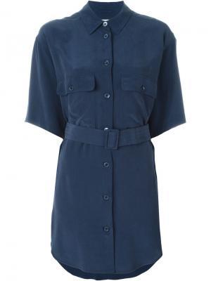 Платье-рубашка с поясом Equipment. Цвет: синий