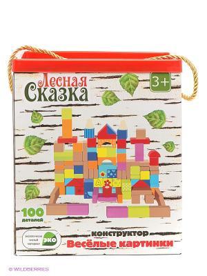Деревянная игрушка ЛС Конструктор Веселые картинки, 100 дет. VELD-CO. Цвет: белый, зеленый, красный
