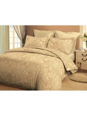 Комплект постельного белья евро 70х70 Jardin. Цвет: коричневый, светло-коричневый, светло-желтый, темно-коричневый