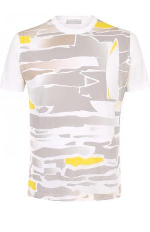 Шелковая футболка с принтом Cortigiani. Цвет: белый
