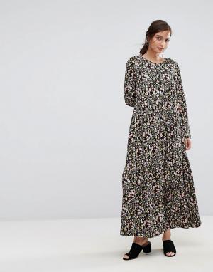 People Tree Платье макси с тюльпанами X V&A. Цвет: мульти
