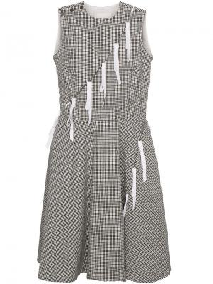 Платье в клетку гингем Sandy Liang. Цвет: чёрный