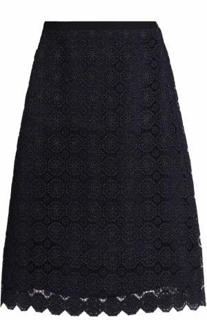Кружевная юбка А-силуэта St. John. Цвет: темно-синий