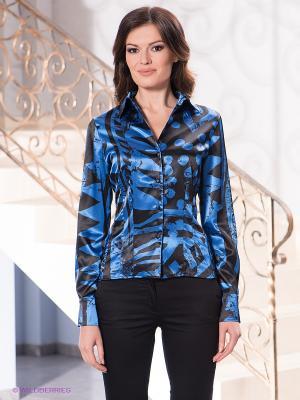 Блузка Levall. Цвет: синий, черный