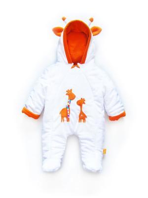 Комбинезон Оранжевые жирафы Дом Жирафа. Цвет: белый