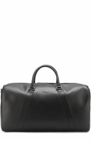 Кожаная дорожная сумка с плечевым ремнем Brioni. Цвет: черный
