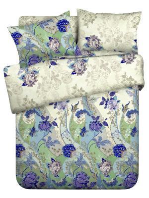 Комплект постельного белья 1,5 бязь Грация Любимый Дом. Цвет: синий, бежевый, зеленый