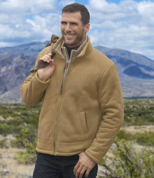 Замшевая Куртка с Подкладкой из Шерпы AFM. Цвет: светло-коричневыи