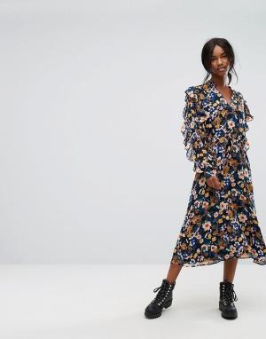 Gestuz Платье миди с цветочным принтом. Цвет: мульти