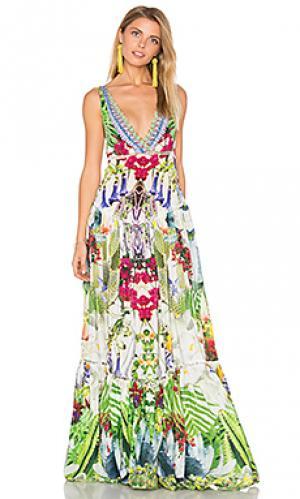 Ярусное платье со сборками Camilla. Цвет: зеленый