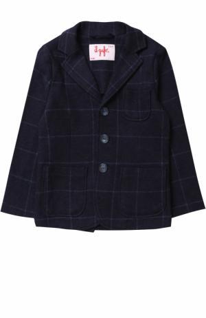 Хлопковой пиджак в контрастную полоску Il Gufo. Цвет: синий