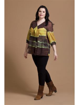 Блузка AVERI. Цвет: коричневый, горчичный, салатовый