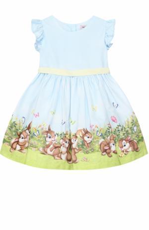 Платье с принтом и оборками на рукавах Monnalisa. Цвет: голубой