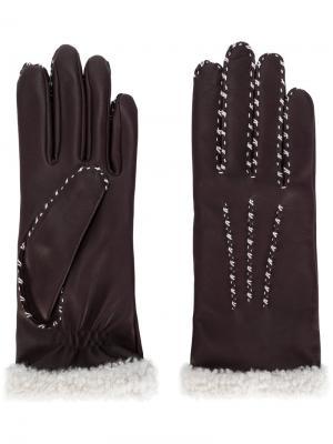 Перчатки с контрастными стежками Agnelle. Цвет: розовый и фиолетовый