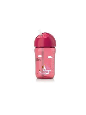 Чашка с трубочкой Philips Avent SCF762/00, 340 мл, 18 мес.+. Цвет: розовый