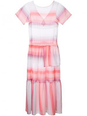 Расклешенное платье в полоску Lemlem. Цвет: белый