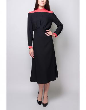 Платье с контрастными элементами Poustovit. Цвет: черный, коралловый