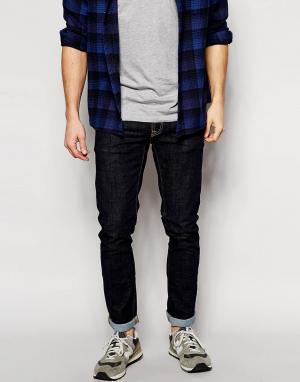 Nudie Jeans Облегающие джинсы скинни из выбеленной саржи Long John. Цвет: синий