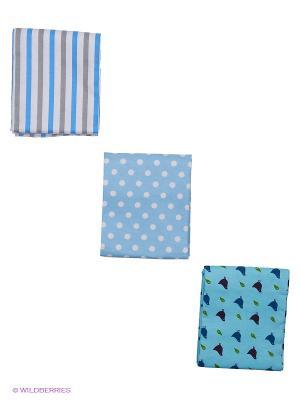 Комплект пеленок (3 шт.) HappyBabyDays. Цвет: синий, голубой, серый