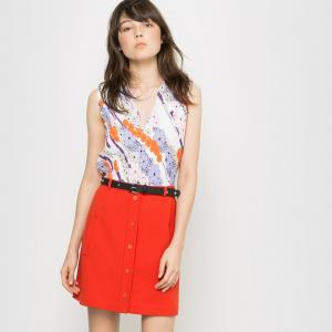 Блузка без рукавов с плиссировкой Carven x La Redoute. Цвет: цветочный рисунок