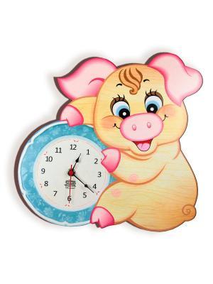Часы настенные Хрюшечка Рюшечка, Ларец чудес. Цвет: голубой,розовый