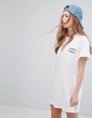 RVCA Свободное платье-футболка с принтом. Цвет: белый
