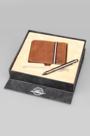 Набор: Портмоне, ручка-стилус Mr.Forsage. Цвет: коричневый