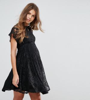 ASOS Maternity Кружевное приталенное платье для беременных с рукавами-бабочка Ma. Цвет: черный