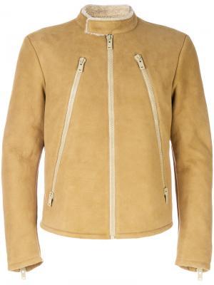 Байкерская куртка-дубленка Maison Margiela. Цвет: жёлтый и оранжевый