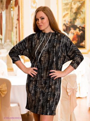 Платье МадаМ Т. Цвет: коричневый, черный, серый