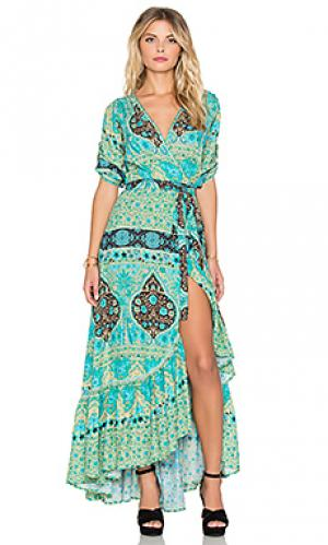 Платье с запахом aloha fox Spell & The Gypsy Collective. Цвет: зеленый