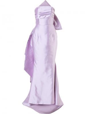 Вечернее платье с бантом Bambah. Цвет: розовый и фиолетовый