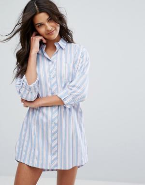 Boux Avenue Ночная рубашка в разноцветную полоску. Цвет: мульти